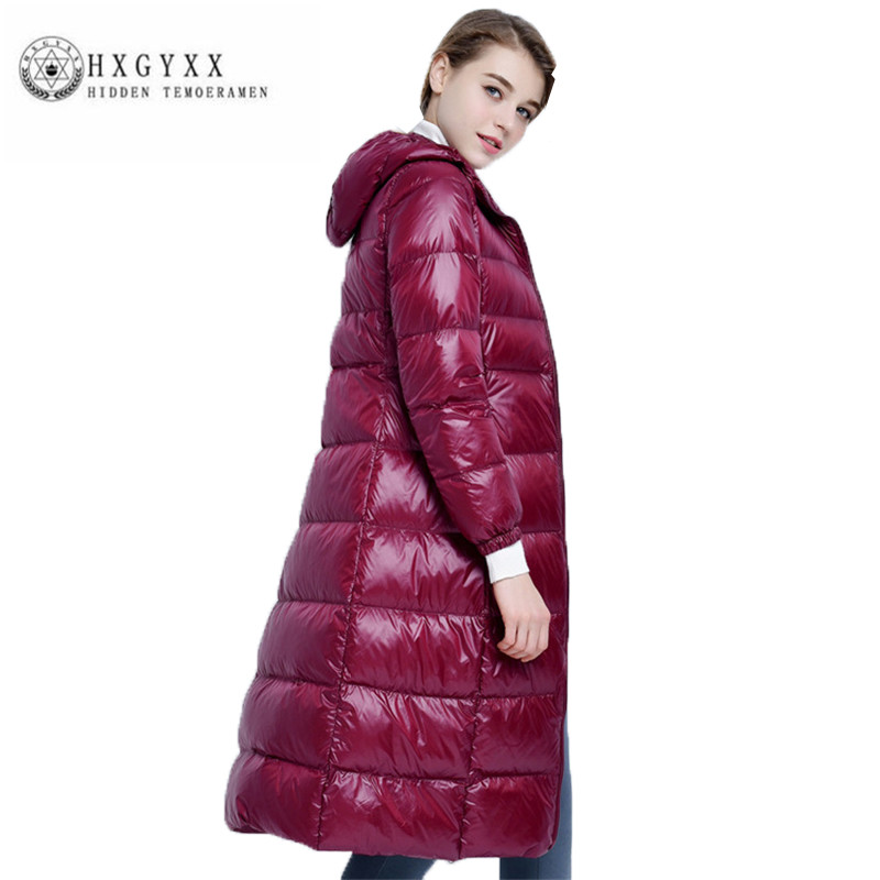 2018 High quality New Long Female Parka White duck down Big yards Winter Women Down jacket Fashion Leisure Thin Outerwear ZX0206