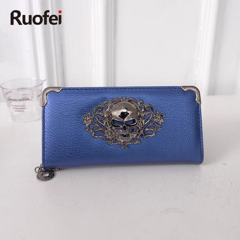 2017Vintage Skull Ladies Long Handbag Zipper Wallet Skeleton Purse Clutch Card Holder Wallet carteira feminina handbag