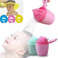 Infant Baby Bath Caps Toddler Baby Shampoo Cup Cartoon Baby Bear Bathing Cup Newborn Bathing Bailer Shower Spoons Kids Bath Tool