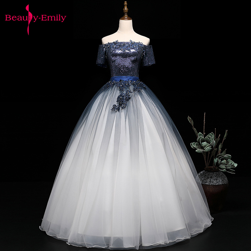 Beauty Emily 2019 Hot Off The Shoulder Wedding Dresses Short Sleeve Party Sequins Applique Open Back Ribbon Stage Show Prom Gown