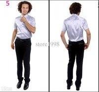 Hot Koop Mannen Korte Mouwen Bruiloft Bruidegom Zijde Shirts 9 Kleuren Bruidegom Shirt hoge kwaliteit custom mode stijl pure kleur