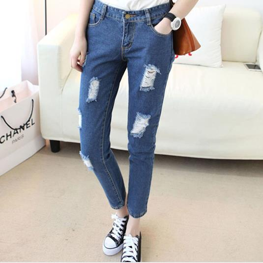 Cheap wholesale 2017 new Autumn Winter Hot sale women's fashion casual student cute loose hole nine minutes popular jeans aliexpress 2016 summer new european and american youth popular hot sale men slim casual denim shorts cheap wholesale