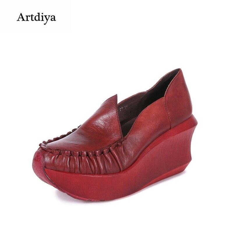 Artdiya 2018 New Women Shoe Genuine Leather Handmade Wedges Heels High Heels Shoes Mama Shoes 936-31Artdiya 2018 New Women Shoe Genuine Leather Handmade Wedges Heels High Heels Shoes Mama Shoes 936-31