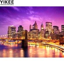 YIKEE diamond embroidery city, diamond,full,square,diamond painting city night landscape