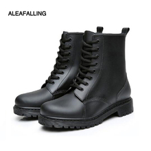 Aleafalling Cowboy Men's Waterproof Rain Boots Mujer Rubber Lace-up Short Ankle