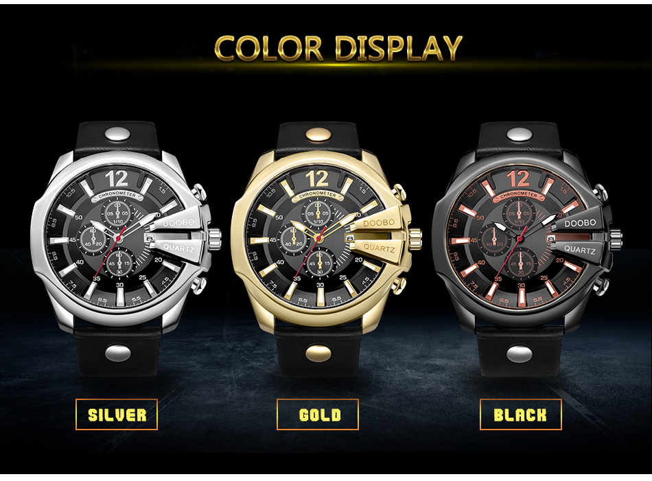 HTB1HaBmXb1YBuNjSszhq6AUsFXaZ DOOBO Men Watches Top Brand Luxury Gold Male Watch Fashion Leather Strap Casual sport Wristwatch With Big Dial Drop Shipping