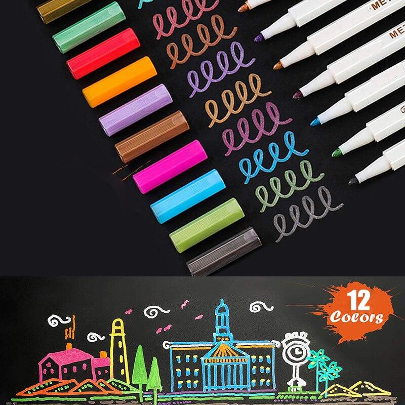 Metallic Marker 12 Color DIY Scrapbook Photo Pen Micron Gift Drawing Black Paper Brush Pen Drawing School Watercolor Art Marker