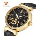 Caliente ouyawei esqueleto reloj de los hombres mecánicos reloj de pulsera hombre relojes relogio masculino de moda de lujo casual reloj de pulsera de cuero