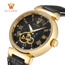 HOT OUYAWEI Mechanical Men's Watch Skeleton wristwatch Man watches Leather Relogio Masculino Luxury Fashion Casual Wrist Watch стоимость