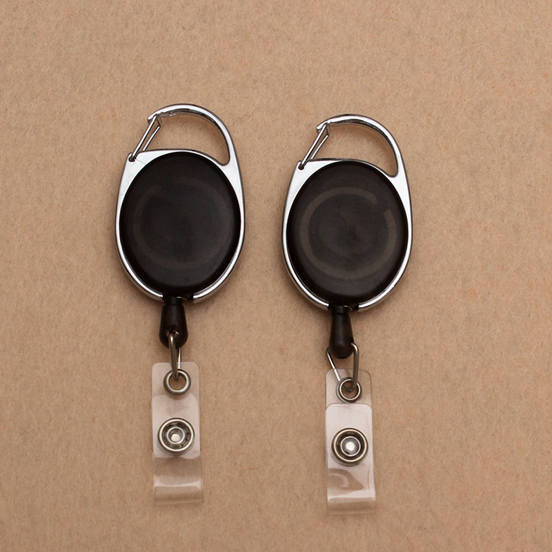 Black Retractable Pull Badge Reel ABS Plastic Student Nurse Horizontal Type Exhibition ID Name Card Badge Holder Office Supplies