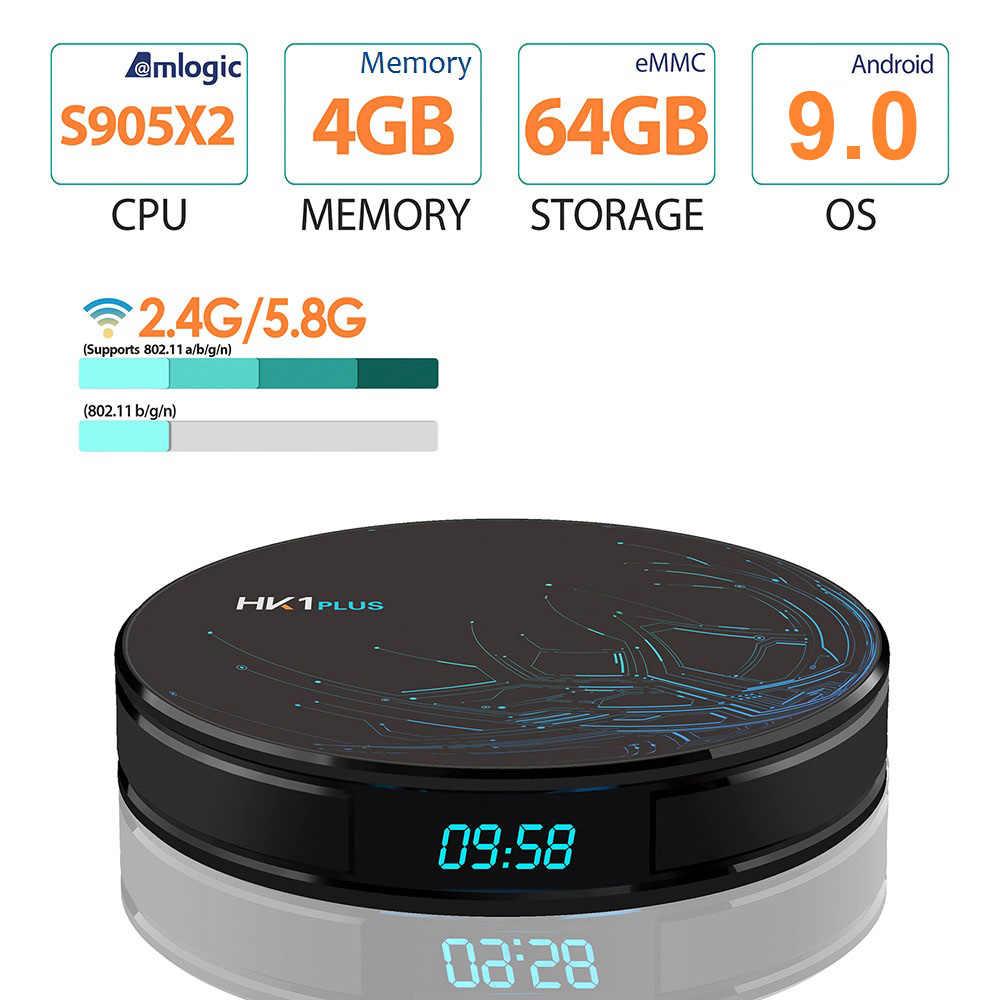 HK1 Plus 4GB 64GB Android 9.0 Smart TV Box Amlogic S905X2 Quad Core Wifi BT4.0 H.265 4K netflix Youtube Google Phát Đa Phương Tiện