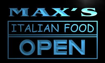 x0256-tm Maxs Italian Food Open Custom Personalized Name Neon Sign Wholesale Dropshipping On/Off Switch 7 Colors DHL