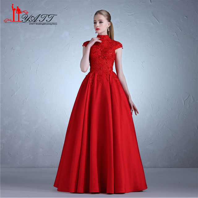 Elegant Red Formal Evening Dresses 2018 High