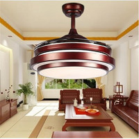 LED living room ceiling light 90 265V Ceiling fans light 42 inch 108cm brown Dimming remote control free shopping ceiling fan L