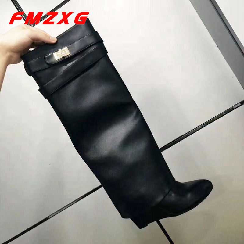 Women Wedge High High Long Chain Boots Chain Boots Sexy Shoe Winter Knee High Designer Boot High Heel Boots Genuine Leather Boot