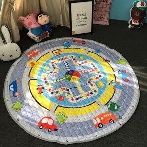Image 5 - חדש 1.5m/59 Inch ילדים עגול שטיח תינוק לשחק מחצלת צעצועי ארגונית שרוך אחסון תיק קריקטורה בעלי החיים ילדים רצפת משחק מחצלת