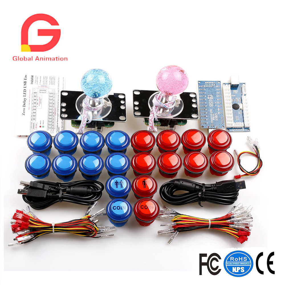 Arcade DIY Parts Zero Delay USB Encoder + 8 Way Joystick+LED Illuminated Push Buttons for Video Game Consoles Mame Raspberry Pi new led arcade game diy parts 2 x 5pin 5v 2 4 8 way led illuminated joystick 16 x led illuminated push button for mame game