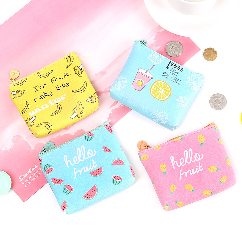 Summer cartoon cute zipper Coin Purse Casual Leather Canvas Fruits Pattern Female Wallet Mini Creative Simple Coin Key Card Bag