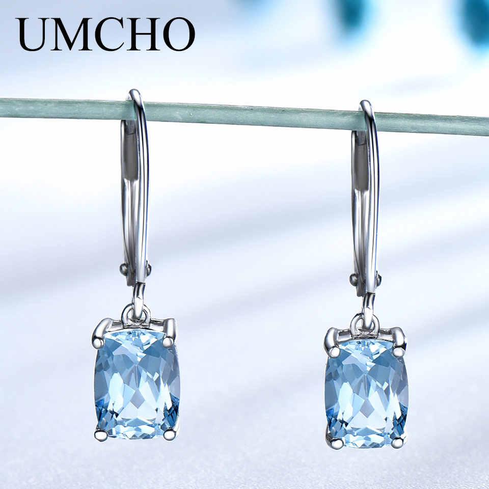 5097a2dab UMCHO Blue Topaz Gemstone Drop Earrings For Women Solid 925 Sterling Silver  Dangle Earrings Bridal Wedding
