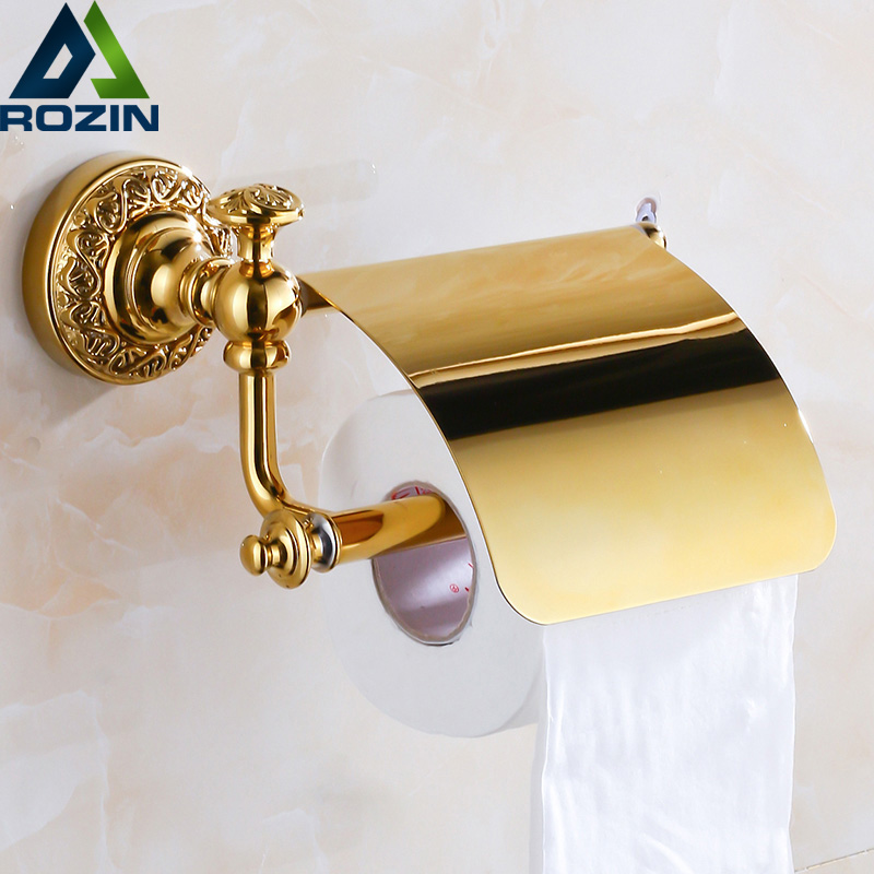 Free Shipping Polished Golden Toilet Paper Holder With Cover Brass Toilet Roll Paper Tissue Holder Rod free shipping antique brass toilet paper holder with cover wall mounted roll toilet paper holder