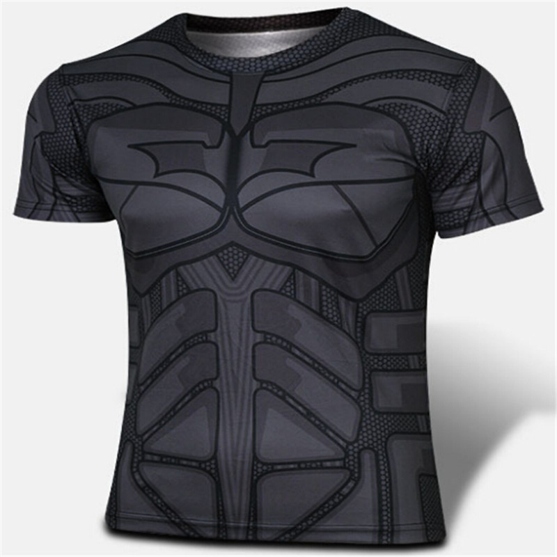 NEW 2016 super hero The hulk batman iron man The giant space The aliens COMPRESS T SHIRT male fitness quick dry T-shirt style