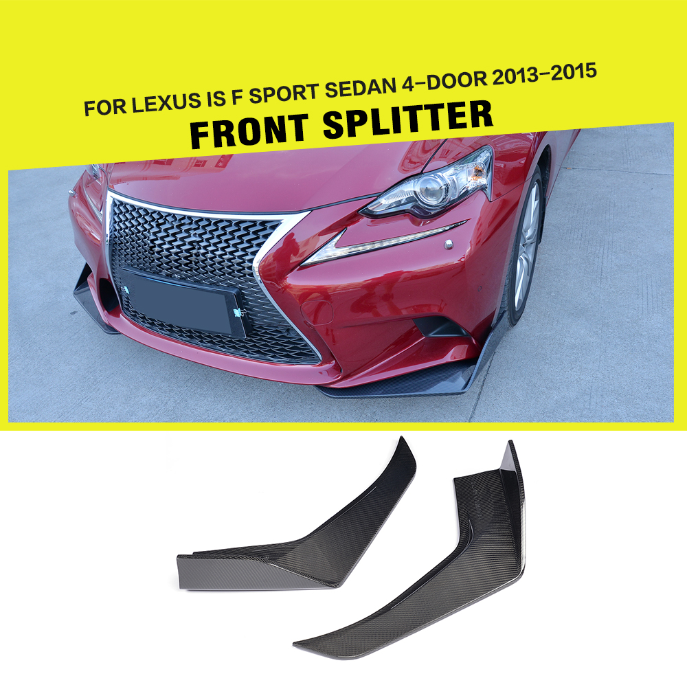 Carbon Fiber Car Front Splitters Lip Apron Cupwings Flaps Flags Cupwings for Lexus IS F Sport Sedan 4-Door 2013-2015