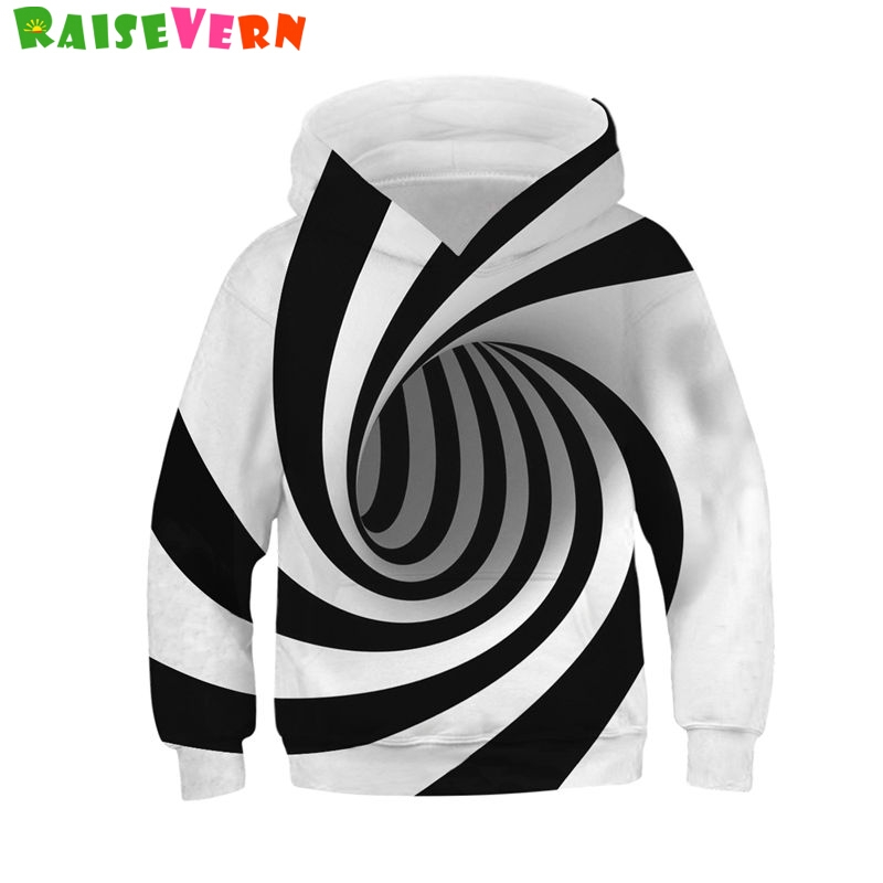RAISEVERN 3D Black White Vertigo Hypnotic Spring Hoody