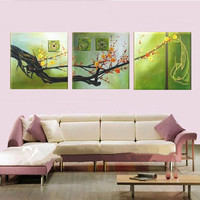 Handpainted Floral Paintings Handmade Fish Chinese Plum Flower Oil Painting Modern Home Decor Wall Art Green
