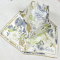 Spring Autumn Beige Silk Scarves Printed Chinese Style Flower Plants Square Silk Kerchief Scarf 55*55cm Silk Small Scarf