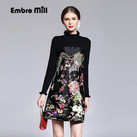 Chinese Traditional Clothing Women Black Red Patchwork Knit Dress Winter Vintage Floral Embroidery Elegant Beautiful Dress