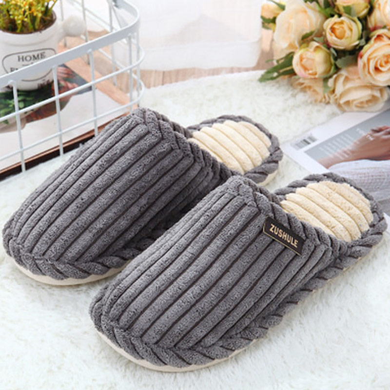 Slippers men winter plush warm home slippers for men non slip comfortable designer men shoes suede 2019 new solid in Slippers from Shoes
