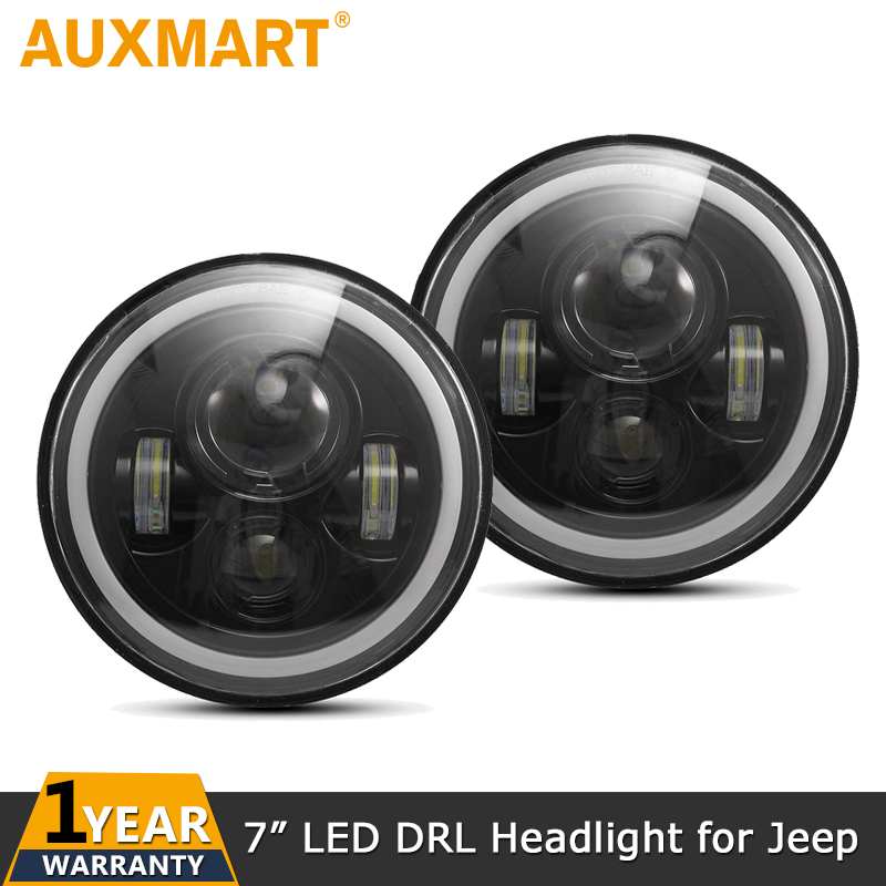 Auxmart 7inch Amber White Halo Angle Eyes DRL LED Headlight Bulbs Led Headlamp Driving Light DC12v for Jeep Wrangler/Land Rover