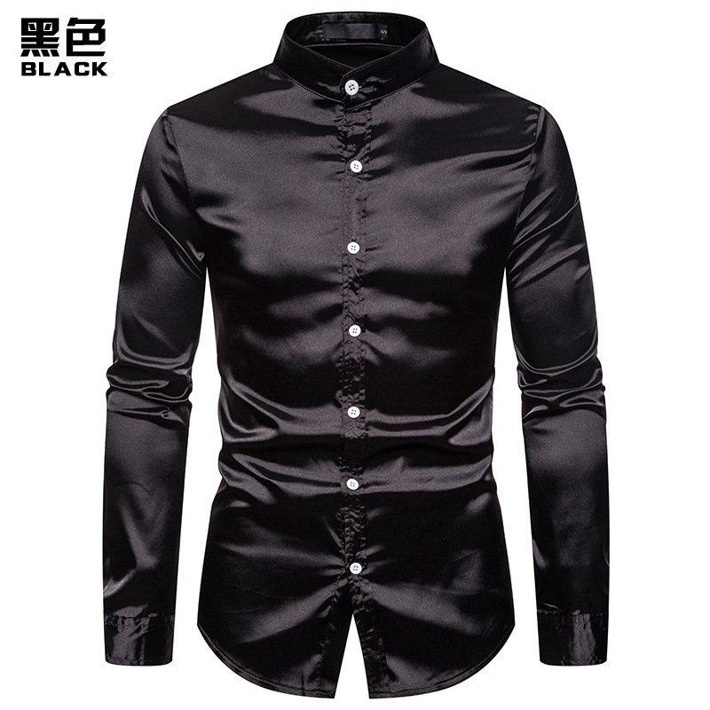 New Eurocode Men's Casual Fashion Glossy Long-sleeved Henry Collar Shirt Nightclub Men's Shirt Dropshipping 6 Color Clothes