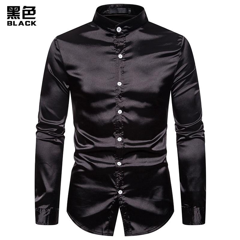 New Eurocode Men's Casual Fashion Glossy Long-sleeved Henry Collar Shirt Nightclub Men's Shirt Dropshipping 6 Color Clothes