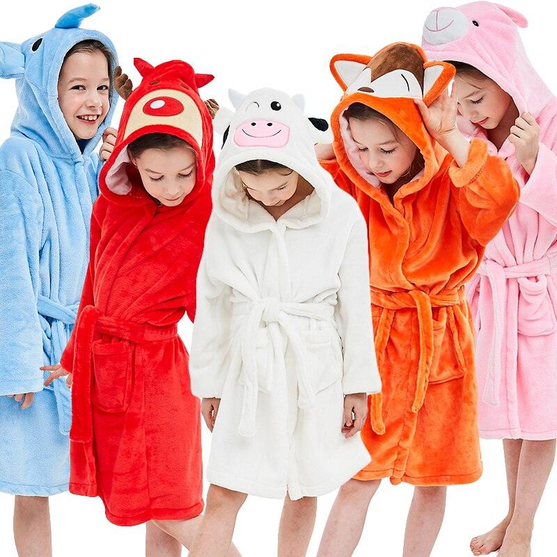 Children Baby Girl Boy Winter Flannel Bathrobes Hoodie Towel Pajamas Night Gown