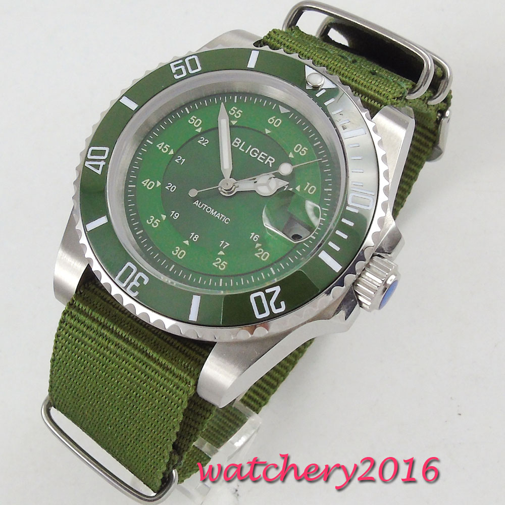 NEW 40mm Bliger Green Dial Rotating Ceramic Bezel Luminous hands Nylon Strap Luxury Brand Miyota Automatic movement mens WatchNEW 40mm Bliger Green Dial Rotating Ceramic Bezel Luminous hands Nylon Strap Luxury Brand Miyota Automatic movement mens Watch