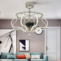 LED invisible ceiling fan light living room creative bedroom fan modern personality art flower fan light