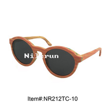 round pink stripe colored bamboo sunglasses