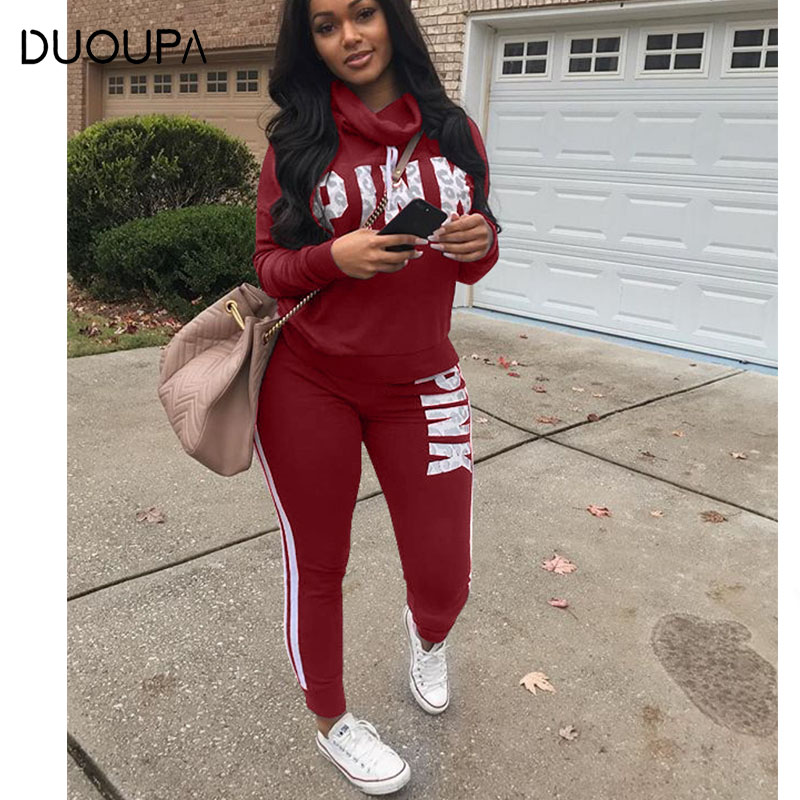 DUOUPA 2019 Spring Letter Pink Print Tracksuit Women Casual Outfits Two Piece Set Pants Suits Plus Size Clothing Sets XXXL