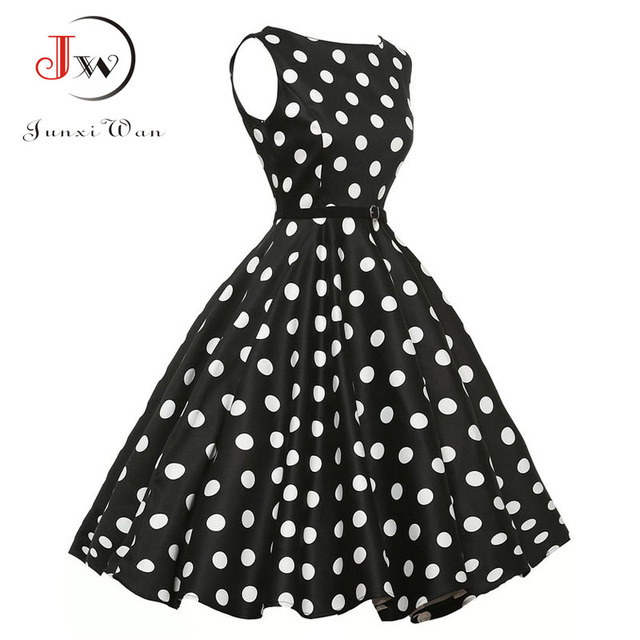 8d5015557b404 US $12.36 46% OFF 2017 Pin Up Plus Size Women Clothing Summer Party Office  Gown Robe ete Sexy 50s Vintage Big Swing Dress Polka Dot Dresses-in Dresses  ...
