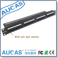 AUCAS 24port CAT6 Gbit Patch Panel Incl 24pcs RJ45 Keystone Adapters Free Connection