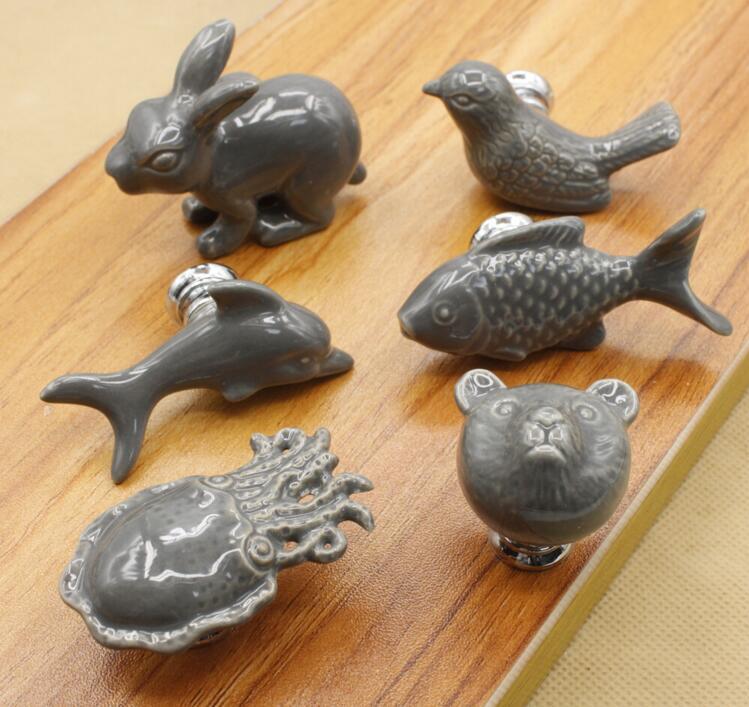 Cartoon Ceramic Kid Room Handle and Knob Cartoon Dolphin / Fish / Octopus / Bird / Bear Furniture Pulls cartoon kid supercharged