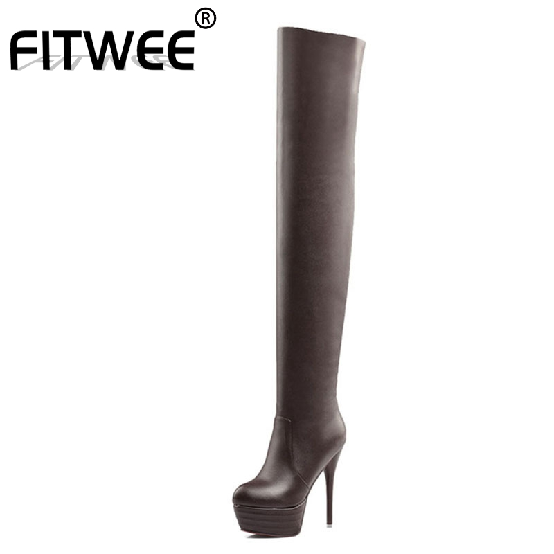 FITWEE Women <font><b>Sexy</b></font> Dance Nightclub Party Shoes <font><b>Extreme</b></font> <font><b>High</b></font> <font><b>Heel</b></font> Platform Women Over Knee <font><b>Boots</b></font> Thigh <font><b>High</b></font> <font><b>Boots</b></font> Size 32-46 image