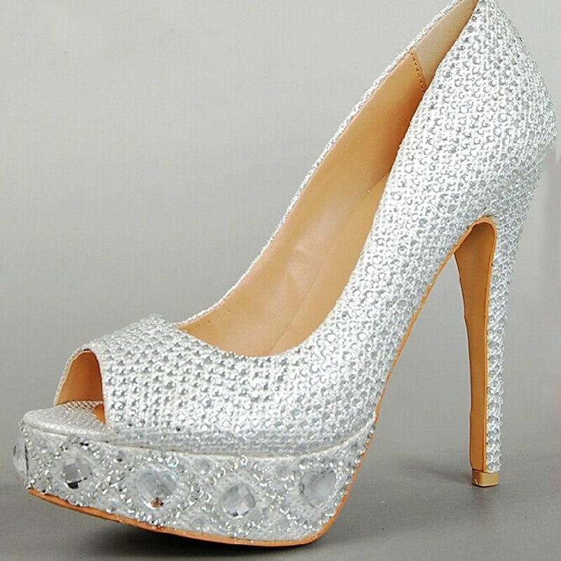 Silver Peep Toe Gem Diamond Wedding Shoes Bridal Shoes
