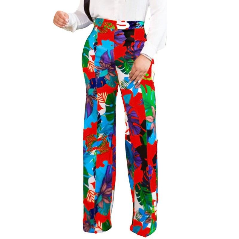 Sexy Women Print Long   Wide     Leg     Pants   2019 Summer Streetwear High Waist Floral   Pants   Straight Casual Bohemian Trousers