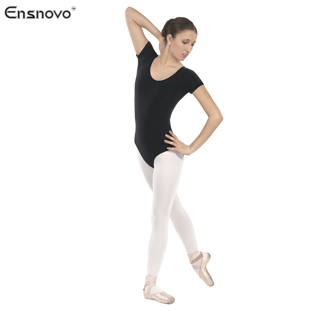 Black spandex dance unitard gymnastics and dancewear - Ensnovo Women Tight Costume Body Ballet Leotard Gymnastics Justaucorps Dance Lycra Nylon Short Sleeve Dancewear Suit