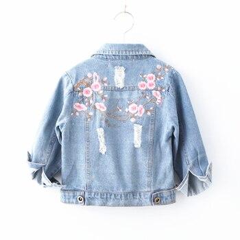 f2f3505f3 Chaquetas de mezclilla para niñas bebé bordado Jean abrigo ropa primavera  moda Otoño niñas prendas de abrigo 3-7Y niños chaqueta