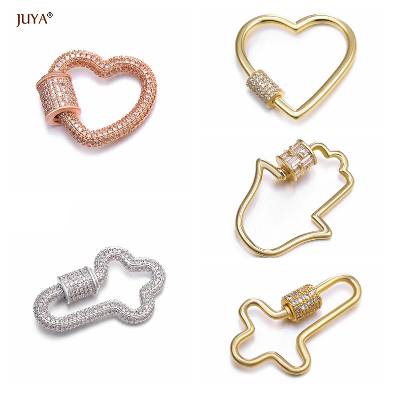 2019 New Luxury Jewelry Making Supplies Zircon Crystal Spiral Clasps Pendants Accessories For Necklaces Making DIY Fine Jewelry