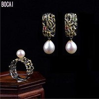 925 sterling silver jewelry handmade hollow 2019 new set with natural Baroque shaped pearls women's fashion earrings ring set