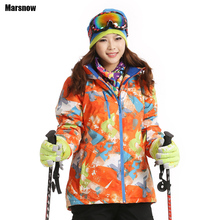 Dropshipping ski Coats Thicken New 2016 print warm thermal waterproof windproof Collar Hooded Outwear winter font